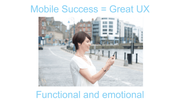 happy person using mobile phone